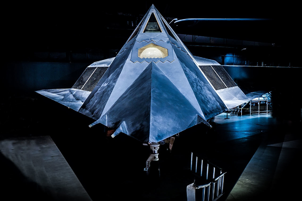 Air Force Air Force Memorial Aircraft Black Bom F-117 Fighter Front Hidden Hide Lockeed Military Museum Nighthawk Nose Power Stealth
