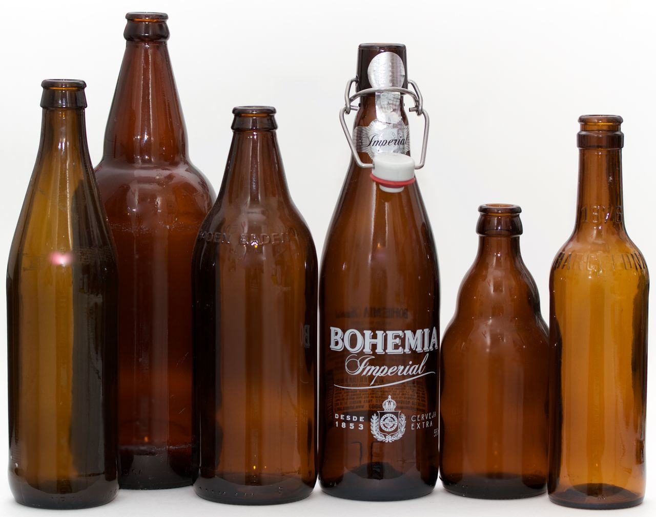 six brown bottles on white background Alcohol Beer Bottle Brown Bottles Drink Food Food And Drink No People Studio Shot White Background Wine
