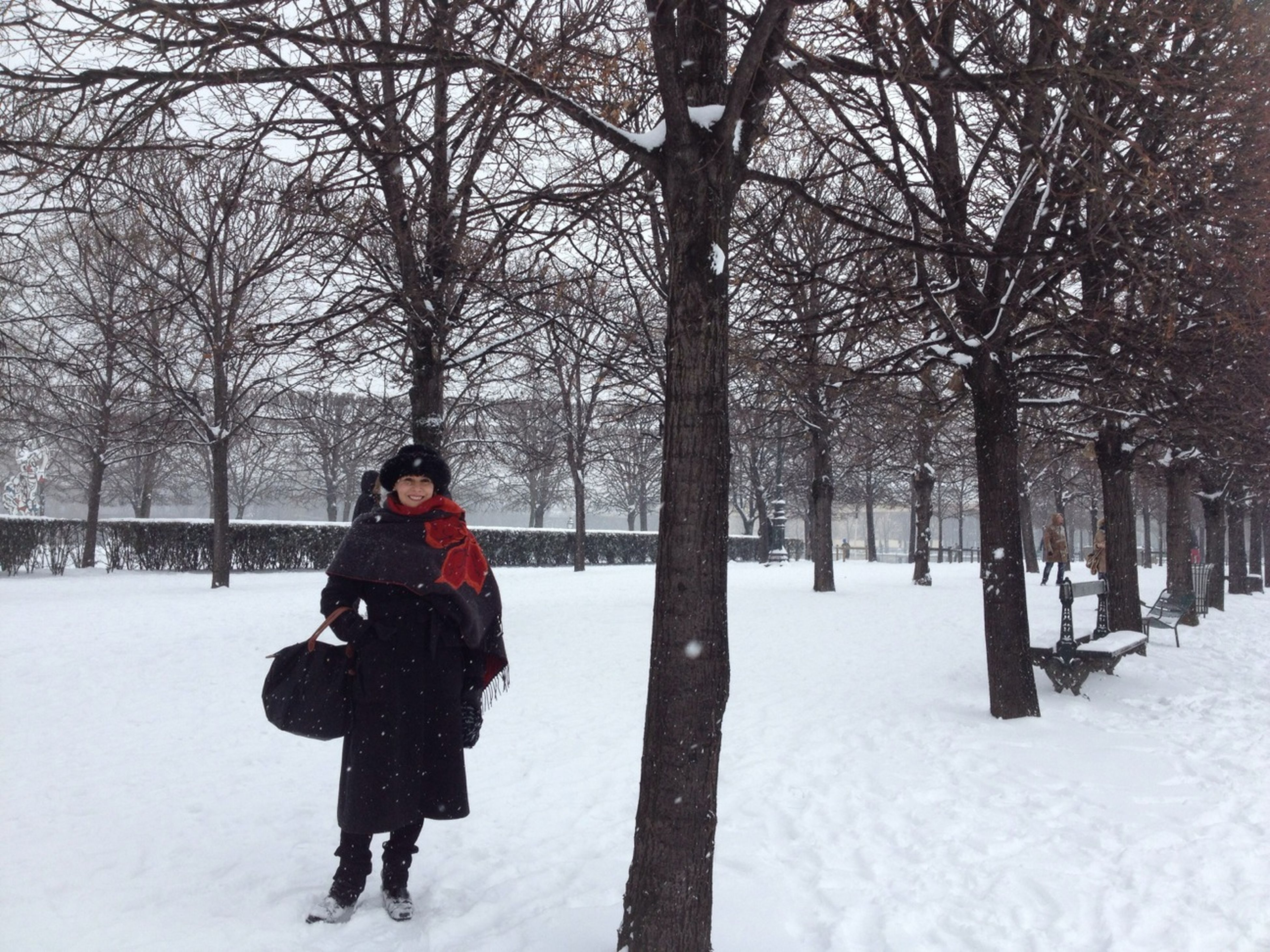 snow, winter, cold temperature, season, weather, warm clothing, tree, covering, bare tree, lifestyles, frozen, leisure activity, rear view, white color, full length, nature, covered, field