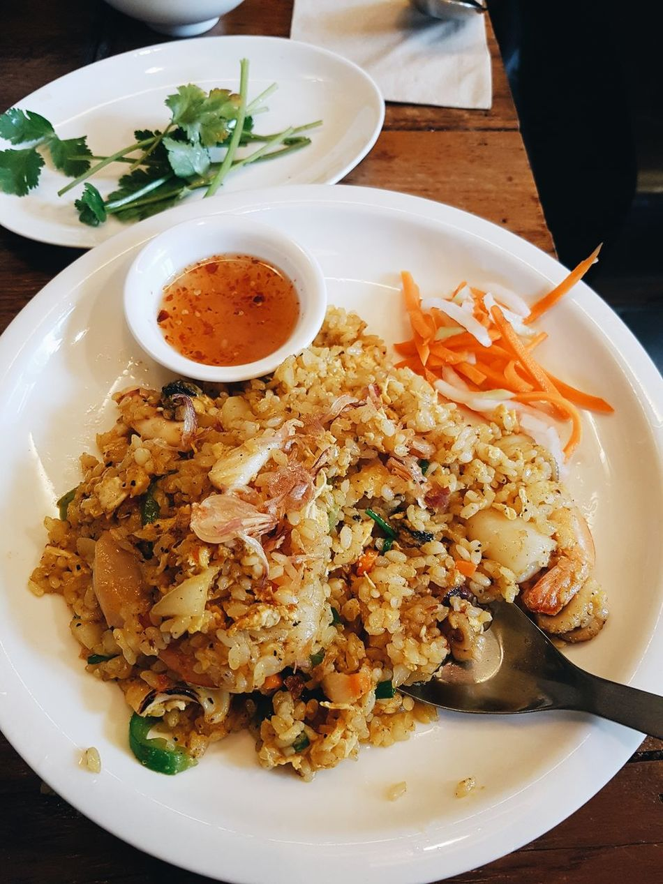 Fried Rice Food Freshness Fried Asian Food Asian  Rice Shrimp Fried Shrimp Top Down Close-up Food Meal Cusine Plate Eggs fried rice with shrimp