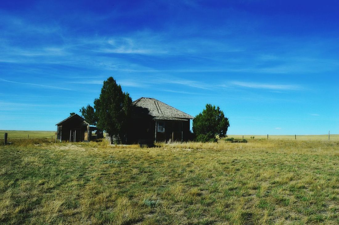 Abandoned ranch house Prairie Center Wyoming No Trespassing Out In The Boondocks Nearest Ranch House Over A Mile Away Bright Sunshiny Day No People