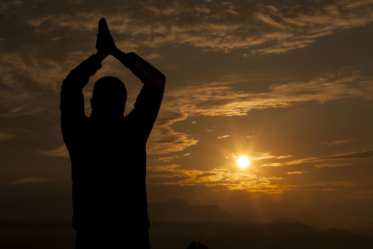 Hands together and pray. Silhouette Hand Pray Praying Sun Sunlight Sunrise Nepal Nature Landscape Himalayas Mountain Mountain Range