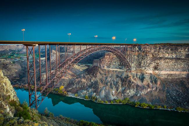Pirrine Bridge at Sunrise Base Jumping Bridge - Man Made Structure No People Outdoors River Sky Snake River Canyon Sunrise Transportation Water