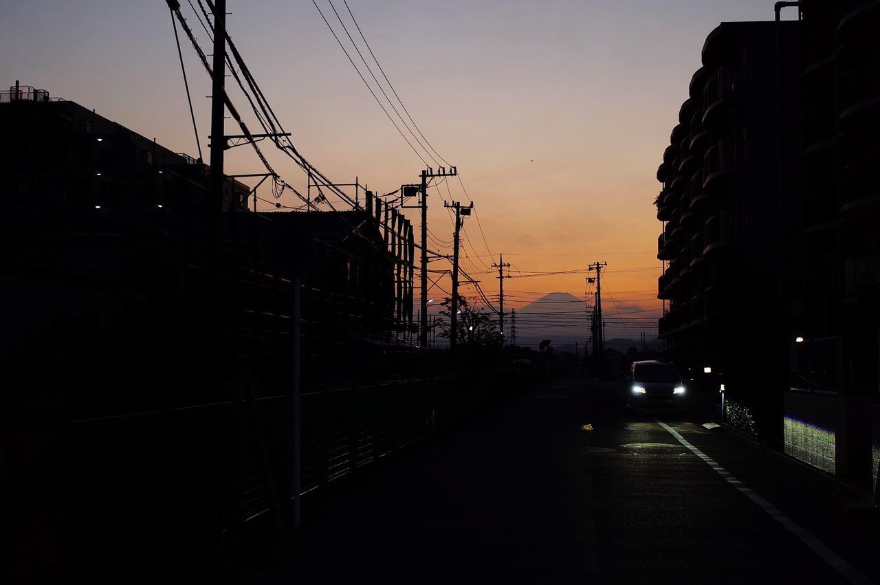 Sunset Transportation Mode Of Transport Land Vehicle Car No People Sky Silhouette Outdoors Nature Cable Built Structure Road Architecture Electricity Pylon Building Exterior Day Gr2 RICOH GR 2