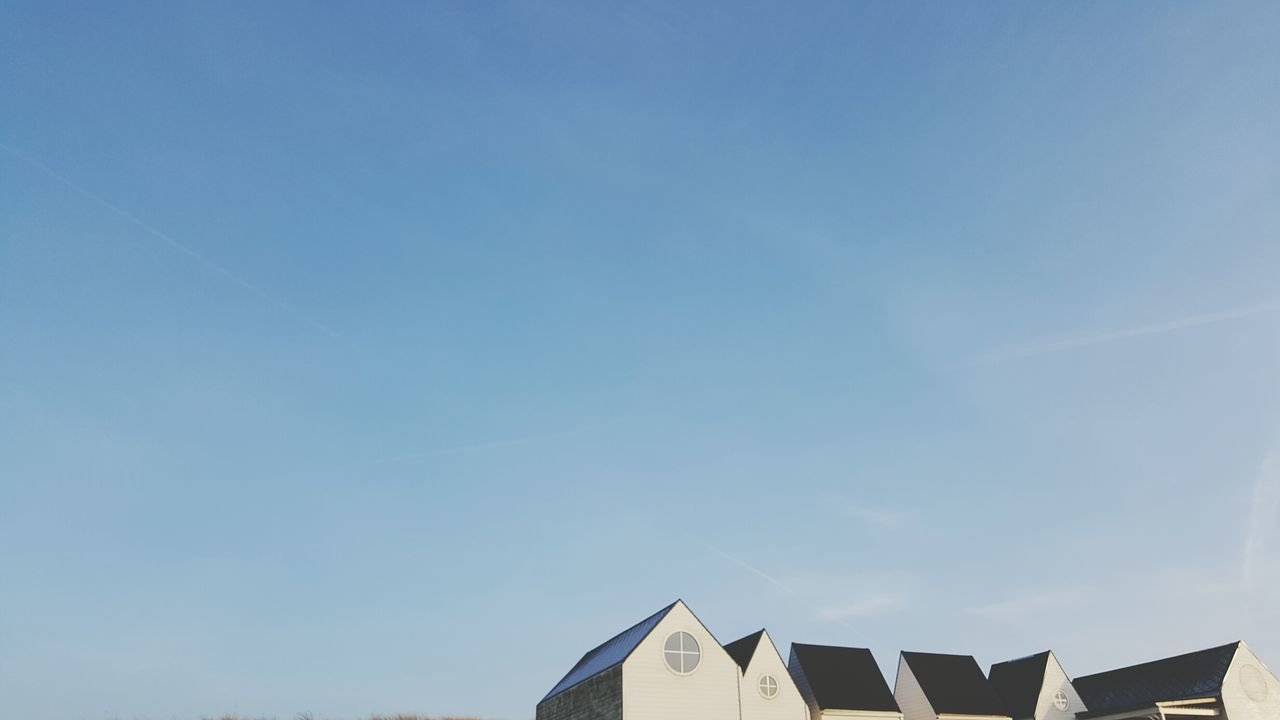 Minimalist Photography  Sky Blue Low Angle View Clear Sky No People Built Structure Architecture Outdoors Day Bluesky Minimalism Houses Houses And Sky