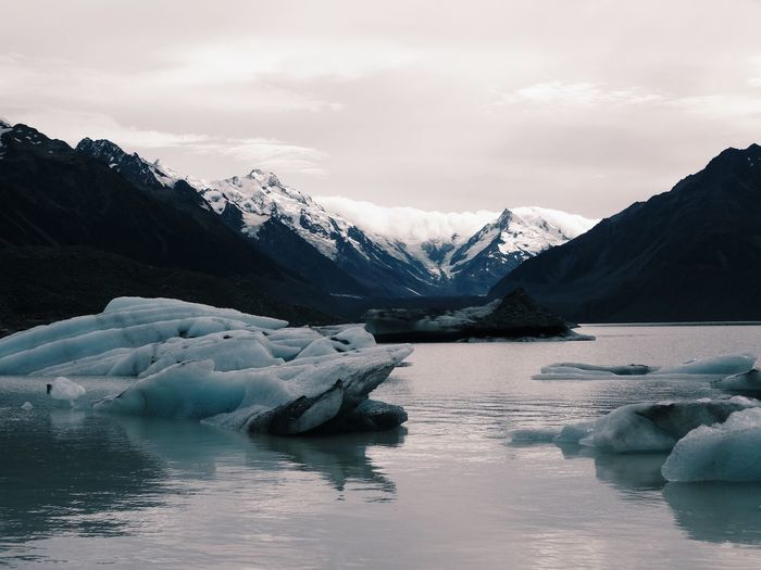 Nature Mountain Water Ice Cold Temperature Beauty In Nature Sky Tranquil Scene Iceberg Scenics Winter Waterfront Tranquility Frozen Snow Idyllic Glacier Lake Landscape No People Mountain Range Mountain View Mount Cook Foggy New Zealand