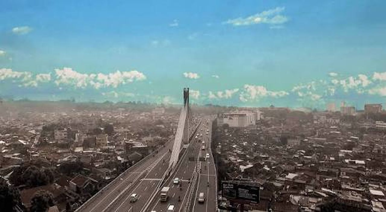 city, cityscape, transportation, sky, aerial view, skyscraper, high angle view, architecture, city life, no people, day, cloud - sky, built structure, outdoors, building exterior, blue