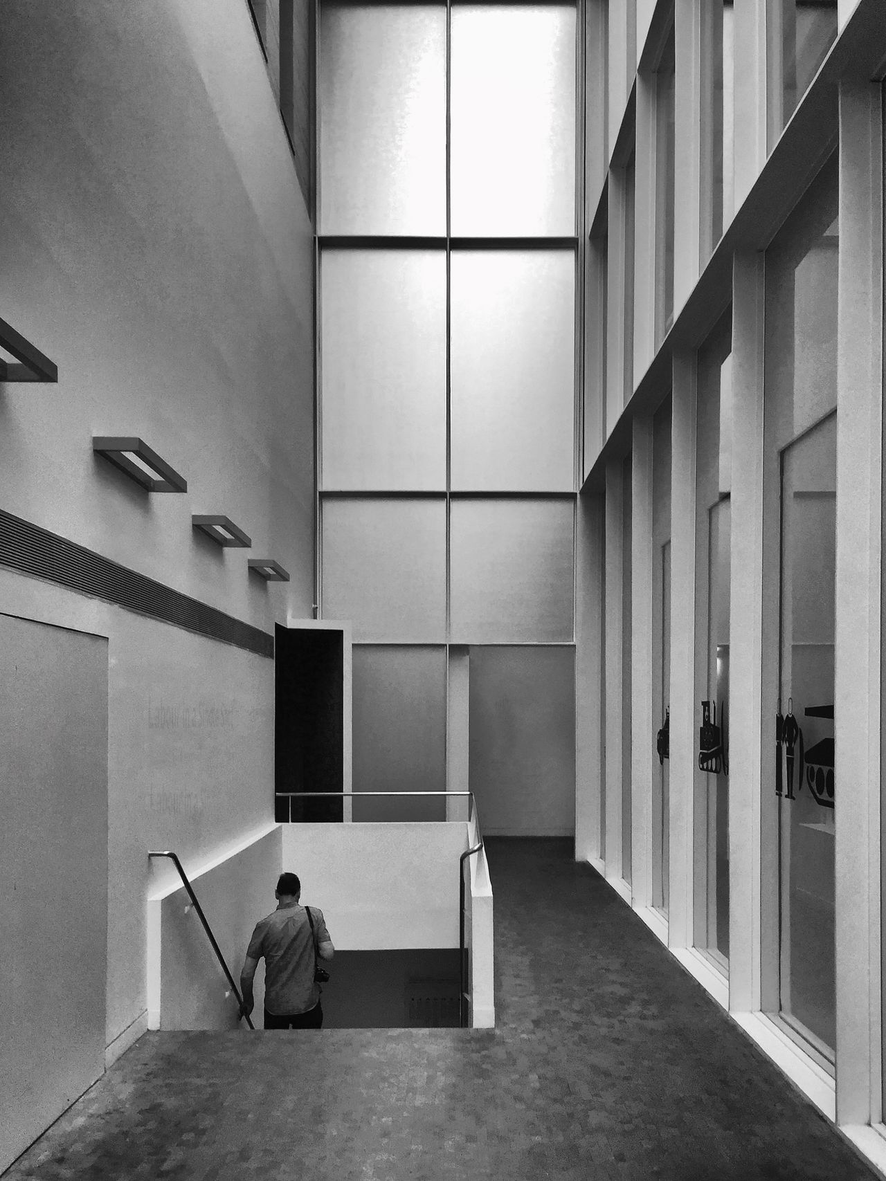 63 / 365 Architecture Black & White Day Descending Design Geometry Indoors  Men Monochrome Photography One Man Only One Person Real People Shapes Stairs