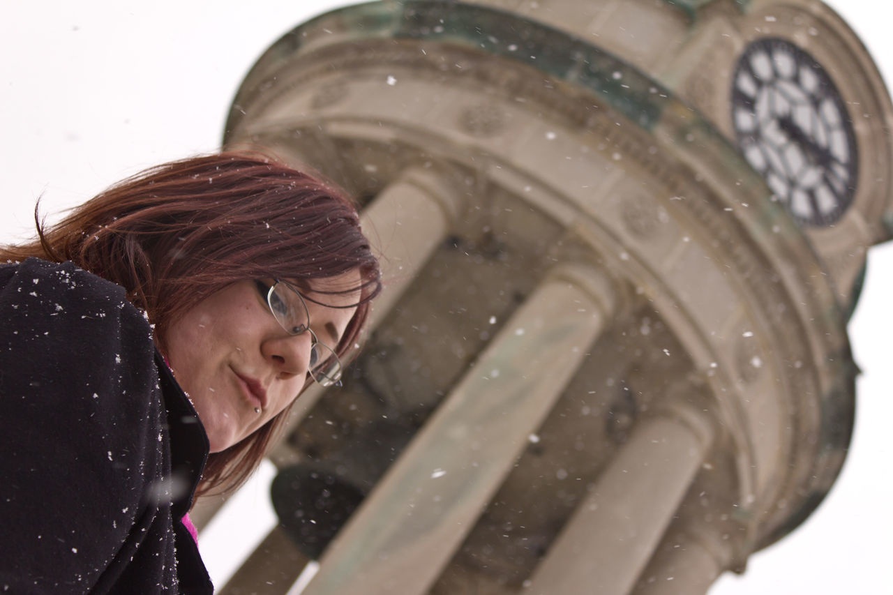 Architecture Blink Blurred Background Clock Tower Close-up Day Daydream Dreaming My Life Away ♥ Eyeglasses  Eyeshadow Focus On Foreground Glasses Headshot One Person Outdoors Overcast People Red Hair Red Hair <3 Shallow Depth Of Field Snowfall Snowing ❄ Water Wet Young Adult