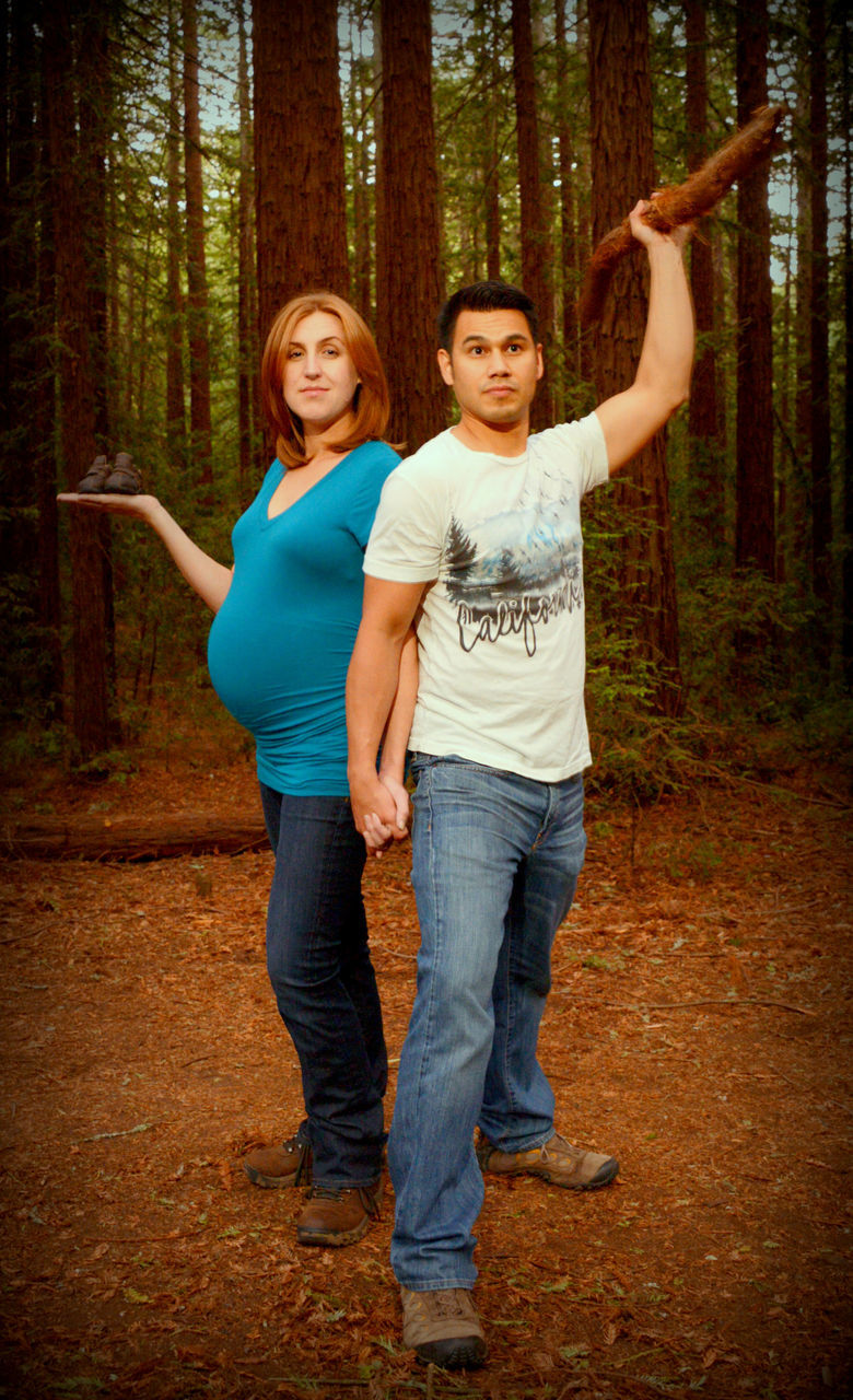 forest, tree, casual clothing, two people, woodland, full length, togetherness, nature, jeans, outdoors, standing, tree trunk, front view, day, smiling, adults only, portrait, human body part, looking at camera, adult, mature adult, people, happiness, women, friendship, only women, young adult
