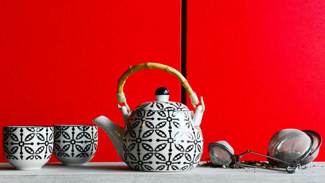 tea Art Of Tea Pourer Cup Of Tea Man Made Object Red Red Color Surface Level Tea Tea Ceremony