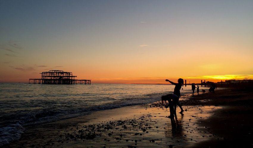 West Pier Brighton West Pier Sunset Sea Beach Horizon Over Water Silhouette Tranquil Scene