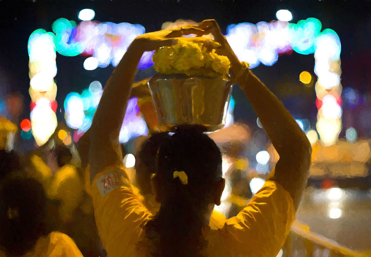 Adult Adults Only Audience Best Of EyeEm Celebration Close-up Crowd Custom Eyeem Singapore For Love Of Photography Human Body Part Human Hand Illuminated Night One Person Outdoors Paint Paintery Painting People Performance Thaipusum Thaipusum 2017 Yellow
