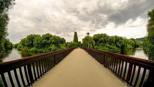 River Riverside River View Bridge Bridges Saale Nature Sky And Clouds Deutschland Jena Thuringen