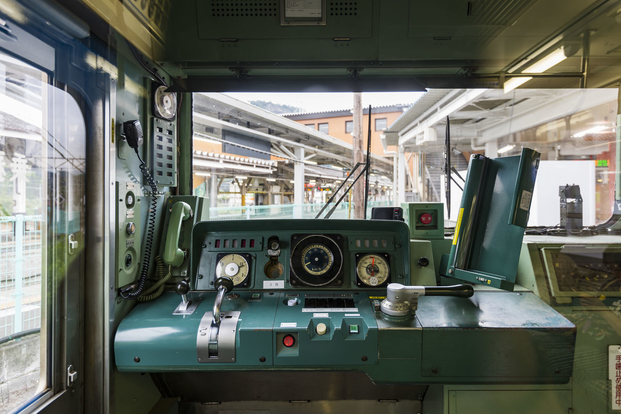 Interior of a cockpit of Fujikyu Commuter Train, Japan Business Finance And Industry Cockpit Commuter Train Control Panel. Control Room Countryside FUJIKYU Industry Interior Japan Kawaguchiko Manufacturing Equipment Meter - Instrument Of Measurement No People Operating Room Otsuki Public Transportation Railway Retro Style Technology Tourism Train Train Conductor Travel Vintage Style