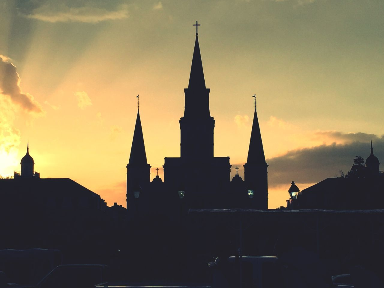 Jackson Square New Orleans, LA St. Louis Cathedral Holiday POV