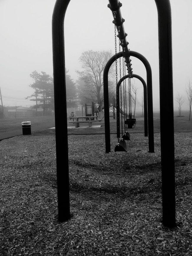 Monochrome Photography Swingset Picnic Area Fog_collection Park Fog Neighborhood
