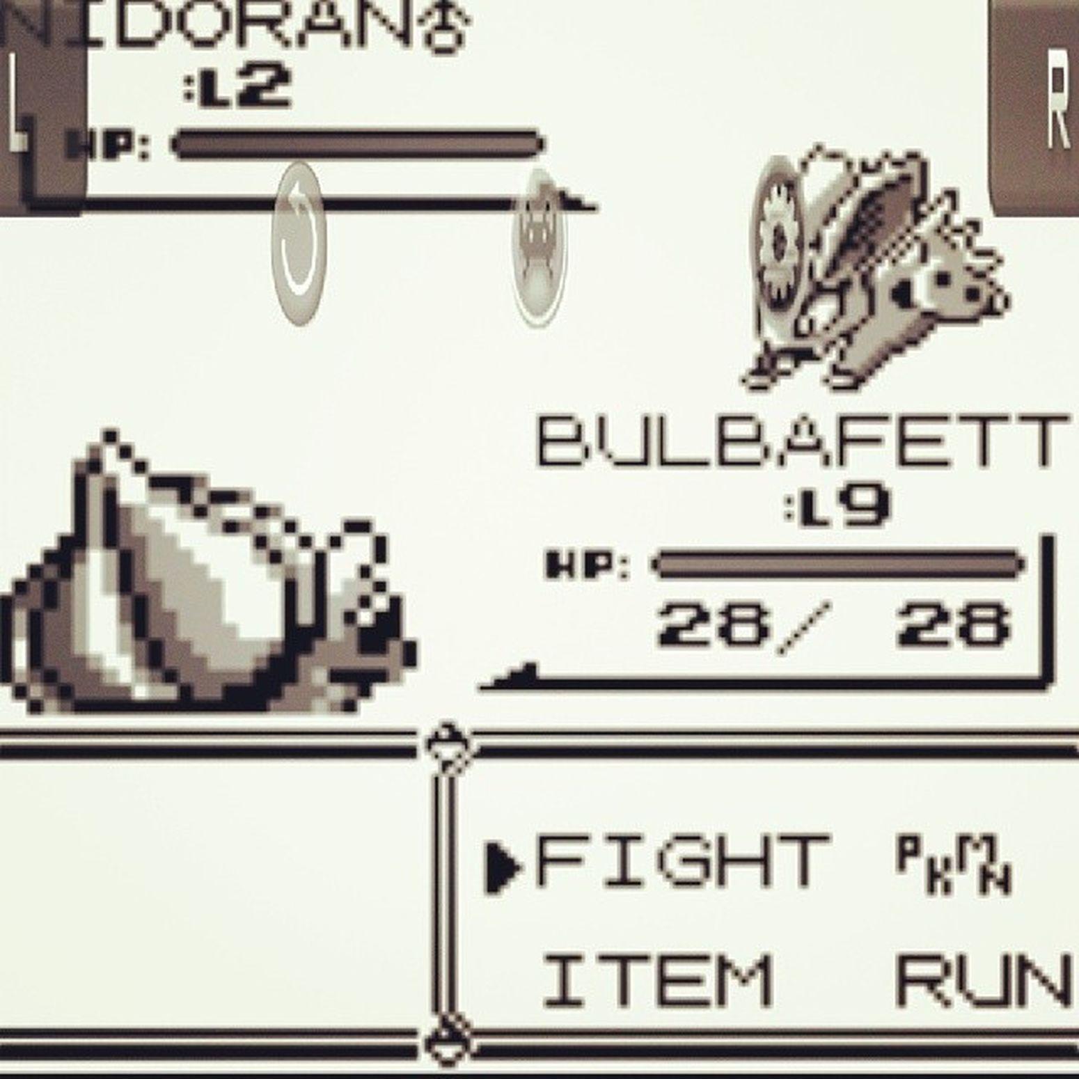 Gotta get the nerdcore on. Snagged my boy and girl Nidoran . Time to hit VeridianForest Oldschool Pokémon redversion bulbafett gottacatchemall