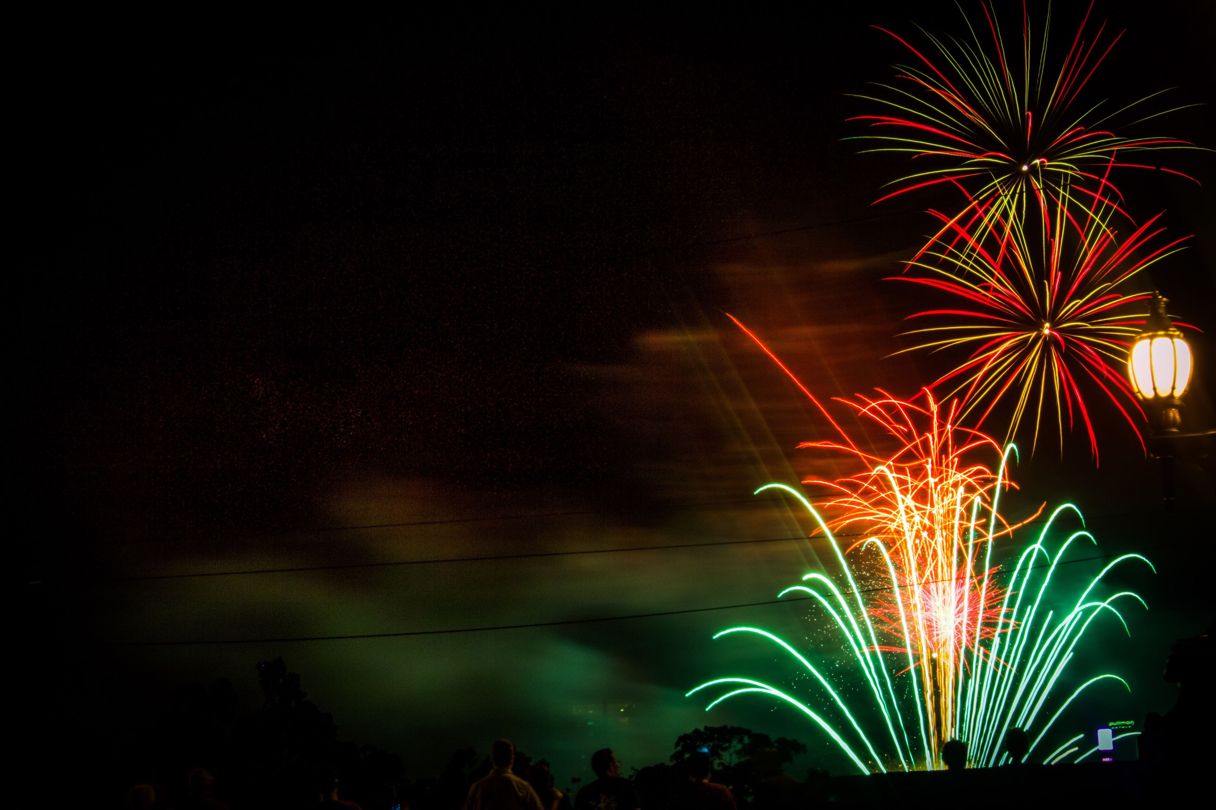 night, firework display, celebration, exploding, firework - man made object, illuminated, sky, long exposure, arts culture and entertainment, sparks, low angle view, multi colored, outdoors, no people, motion, tree, firework