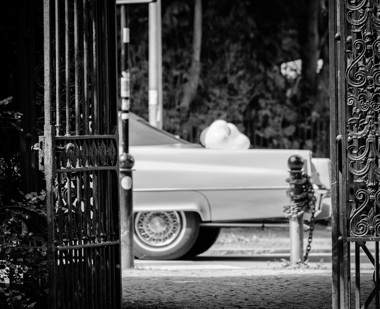 particular ways.. Auto Blackandwhite Bnw Car Classic Car Daylight EyeEm Best Shots - Black + White Fence Focus On Foreground From My Point Of View Full Length Gate Light And Shadow Mode Of Transport Schwarzweiß Selective Focus Side View Street Streetphoto_bw Streetphotography Tor Transportation US Car Vehicle Zaun