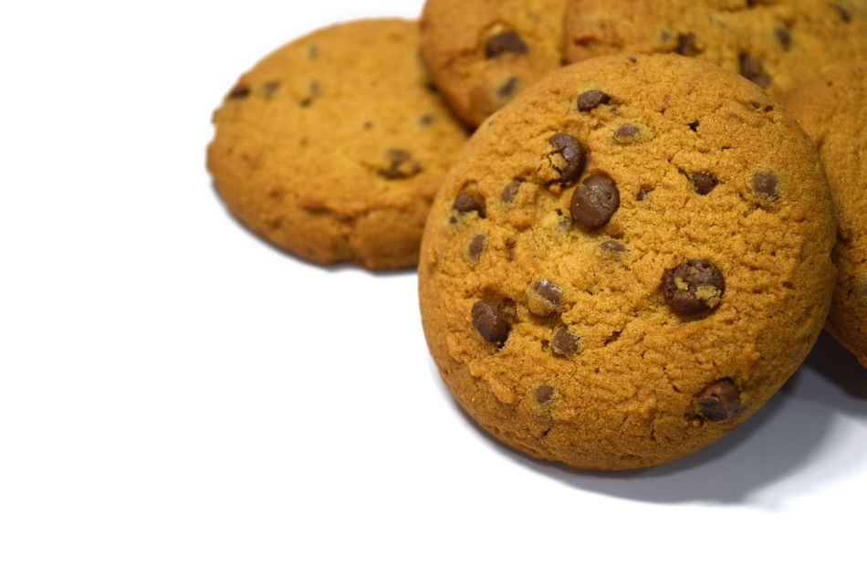 Chocolate chips cookies isolated on white Bake Biscuit Breakfast Brown Calories Chocolate Chip Close-up Cookie Cookies Delicious Dessert Food Food And Drink Fresh Freshness Handmade Homemade No People Ready-to-eat Snack Snack Sweet Food Temptation Unhealthy Eating White Background