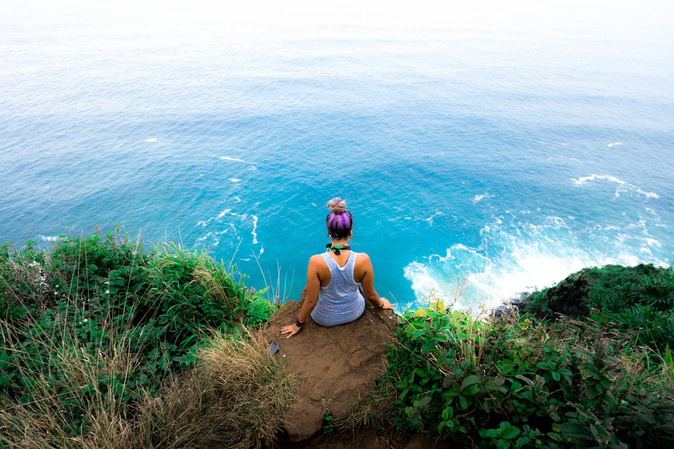 Taking a rest on the Nepali Coast hike Beauty In Nature Hawaii Life Hawaiishots Kauai Kauai♡ Nature Nepali  Ocean View Outdoors Relaxation Sea Tranquil Scene Tranquility Water People Of The Oceans