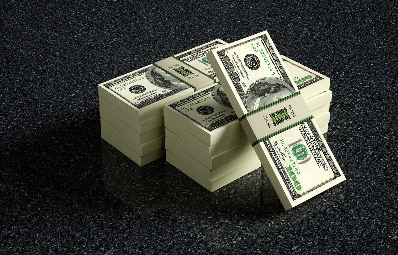 100 Dollar banknote bundles on marbled floor - 3D rendering Cash Currency Dollar Earnings Finance Money No People Paper Currency Piled Up Profit Rendering Success Wealth