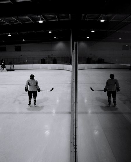 mirror the opponent Full Length Sports Clothing Ice Hockey People Sport Headwear Indoors  Ice Rink Adult Day Young Adult