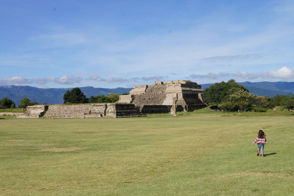 Sky Old Ruin Outdoors Architecture Children Only Landscape Day Full Length Child One Person Building Exterior Oaxaca Monte Alban Tranquility Tranquil Scene Travel Destinations