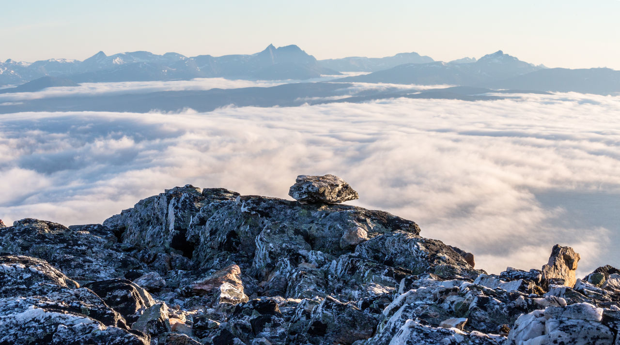 Adventure Beauty In Nature Clouds Day Fog Hiking Landscape Morning Mountain Mountain Peak Mountain Range Nature No People Northern Norway Norway Outdoors Over The Clouds Rock - Object Senja  Senja Island Sky Snow Snowcapped Mountain Summit Sunset