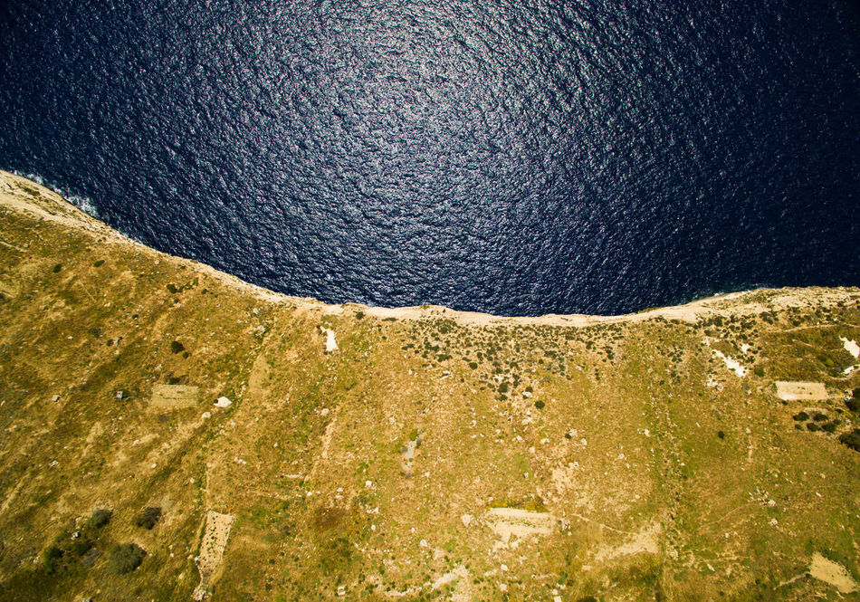 Aerial Photography Aerial View Beauty In Nature Blue Cliff Cliffside Day Dingli Dingli Cliffs Dronephotography Farm Green High Angle View Malta Mediterranean  Nature No People Ocean Ocean View Outdoors Scenics Sea Top Down Top Down View Water