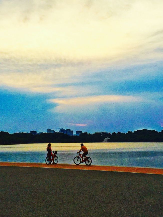 Bicycle Water Silhouette Scenics Nature Lake Outdoors Sunset