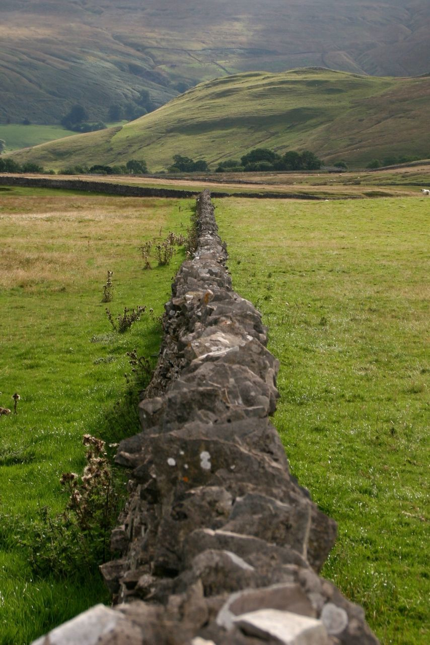Stone Wall On Grassy Field