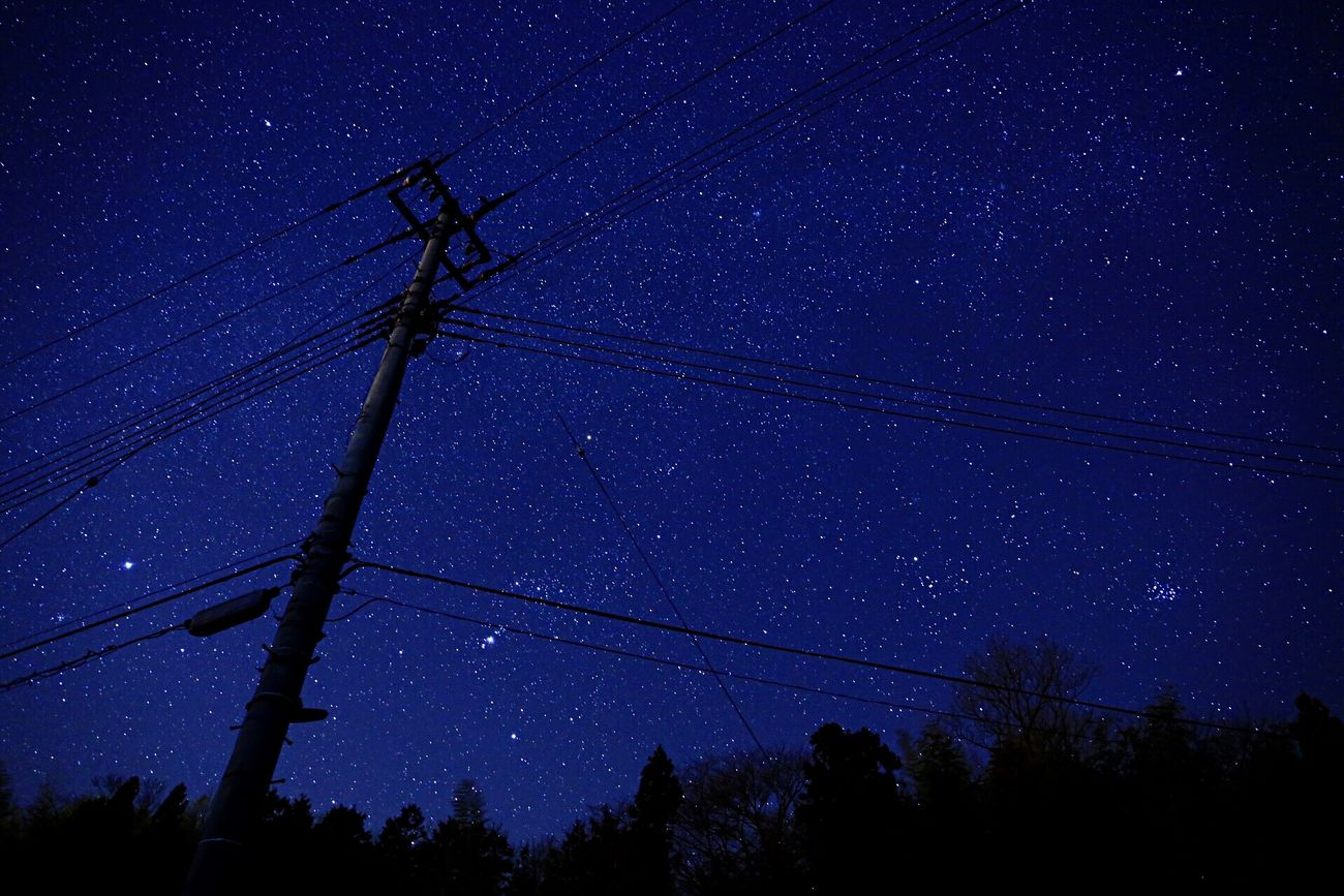 Night Cable Power Supply Low Angle View Connection Electricity  Power Line  Sky Star - Space Electricity Pylon No People Fuel And Power Generation Silhouette Tree Nature Illuminated Technology Astronomy Star Field Constellation