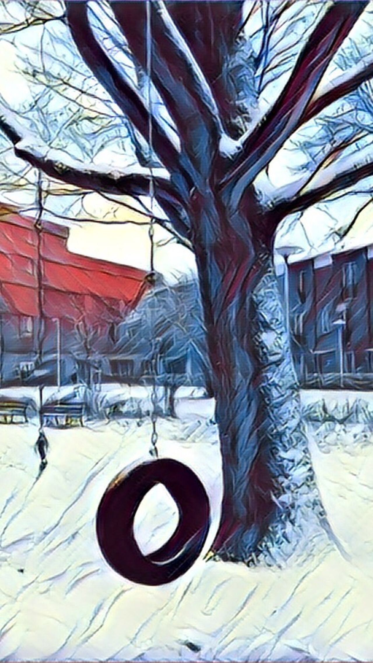 Tree Winter Built Structure Architecture No People Day Snow Cold Temperature Outdoors Nature Nature Photography Tree Painting Art Eyeemphotography EyeEmBestPics Eye4photography  Taking Photos EyeEm Best Edits