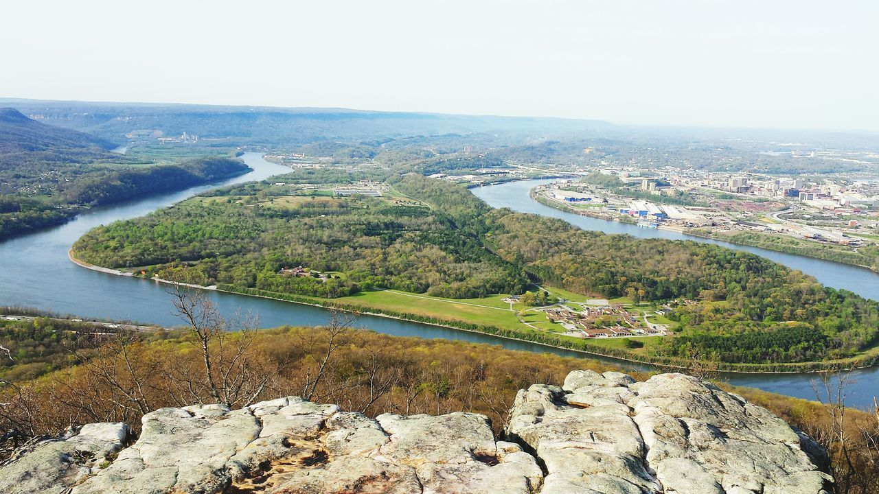 Aerial View Mountain Landscape Water Nature Day Sky Scenics No People Beauty In Nature Cityscape City Of Chattanooga Below. High Angle View Outdoors