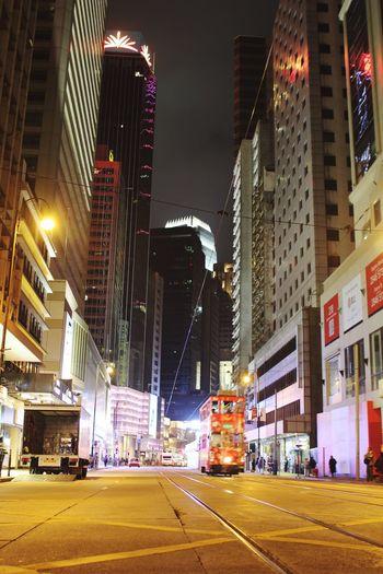 Illuminated City Building Exterior Architecture Night City Street Street Built Structure City Life Street Light Nightlife Outdoors Road Transportation Tram HongKong Hongkongisland 2016