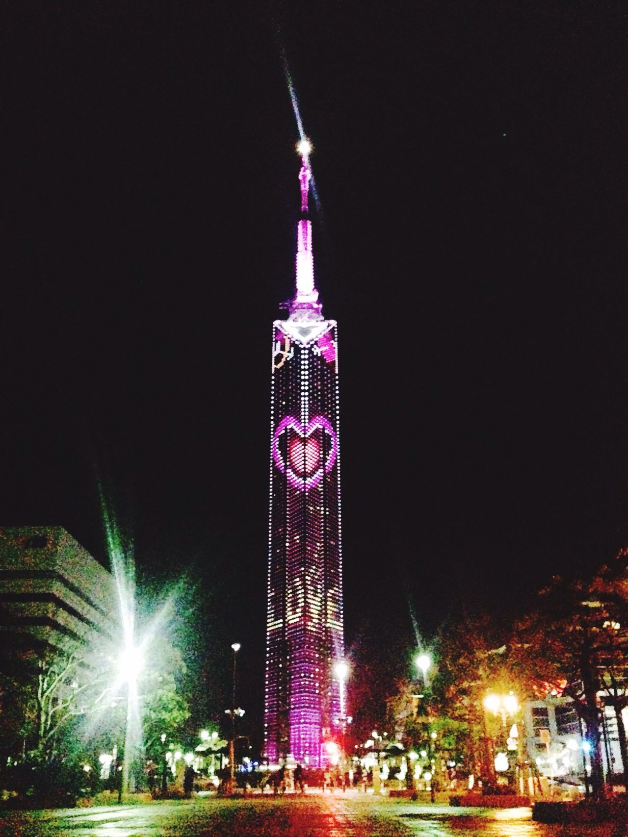 Fukuoka tower Fukuoka Tower Fukuoka,Japan IPhoneography IPhone Night Lights Japan HappyValentine'sDay