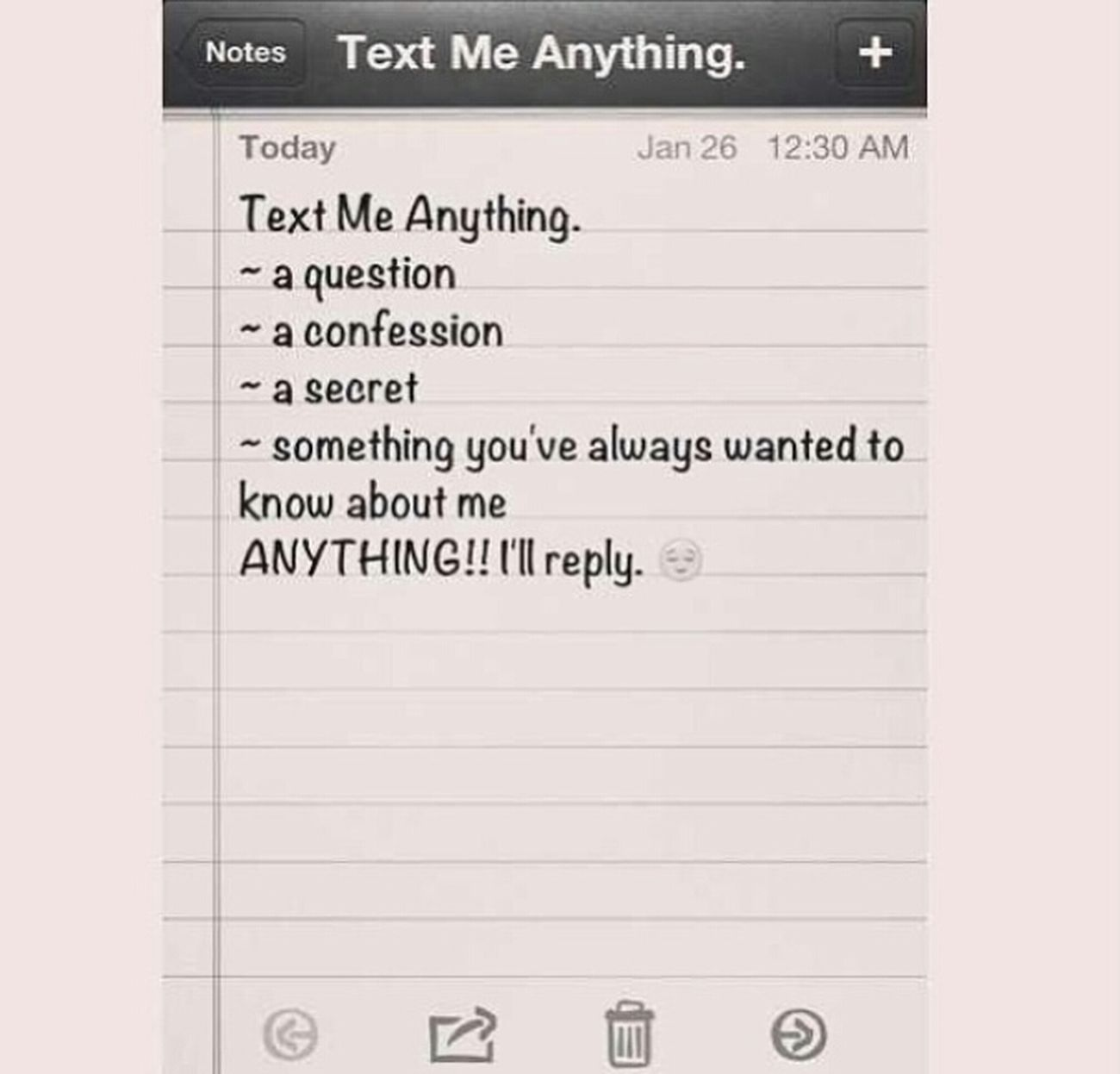 ehhhh kinda scared but uhmm yea lets Go ! TEXT MY PHONE Ill Reply (: 4049906125