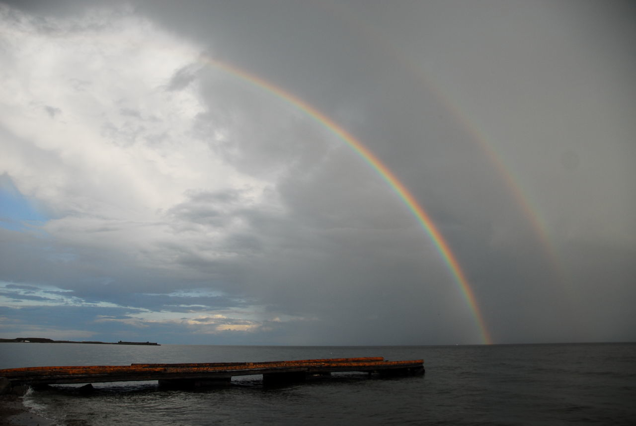 rainbow, double rainbow, scenics, beauty in nature, cloud - sky, water, nature, no people, idyllic, sky, multi colored, outdoors, day, sea