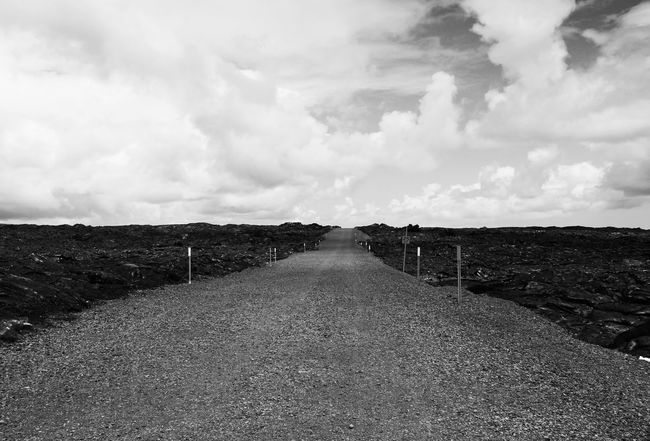 The Way Forward Landscape Diminishing Perspective Tranquil Scene Sky Tranquility Long Field Scenics Vanishing Point Cloud - Sky Cloud Nature Narrow Day Surface Level Non-urban Scene Cloudy Outdoors Beauty In Nature Bnw_friday_eyeemchallenge Lava Field Hawaii Volcano National Park Monochrome Photography