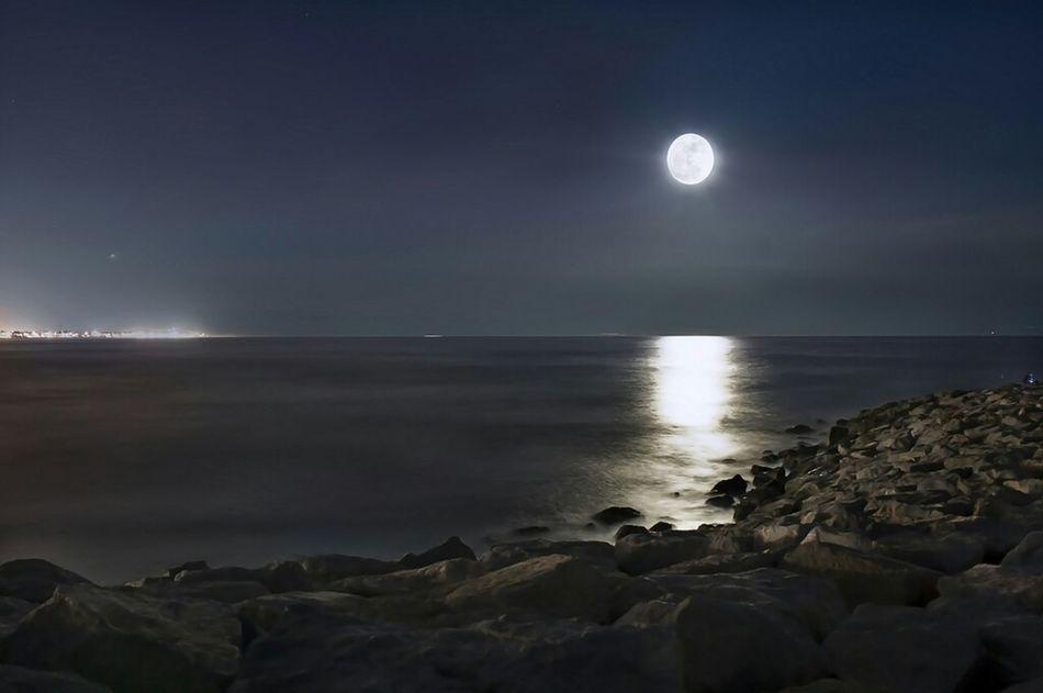 Landscape Night Lights Barcelona Tonight