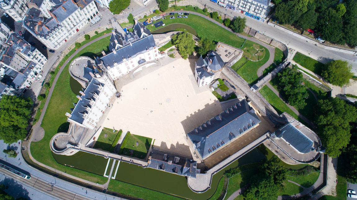 Aerial Photography Aerial View Altitude Drone Bretagne Castle Church Château Des Ducs De Bretagne City City Center Cityscape France French Brittany High Angle View Historical Building Landscape Loire Atlantique Medieval Architecture Nantes Naoned Point Of Interest Sky And Clouds Tourism Tramway Travel Destinations Visit