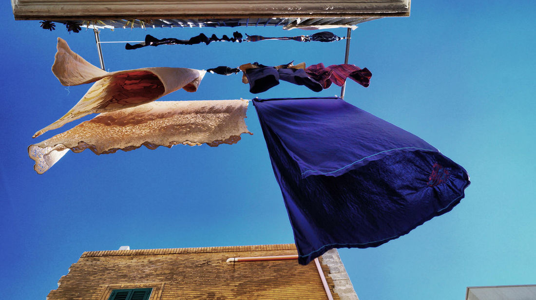 Washing Blue Day Drying Freshness Hanging Low Angle View Outdoors