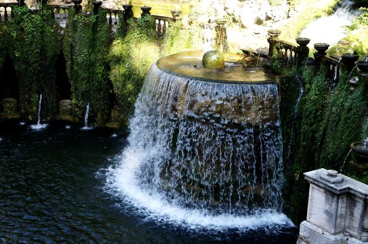 Waterfall Grass Green Color Drop Statue Fall Beauty In Nature Park