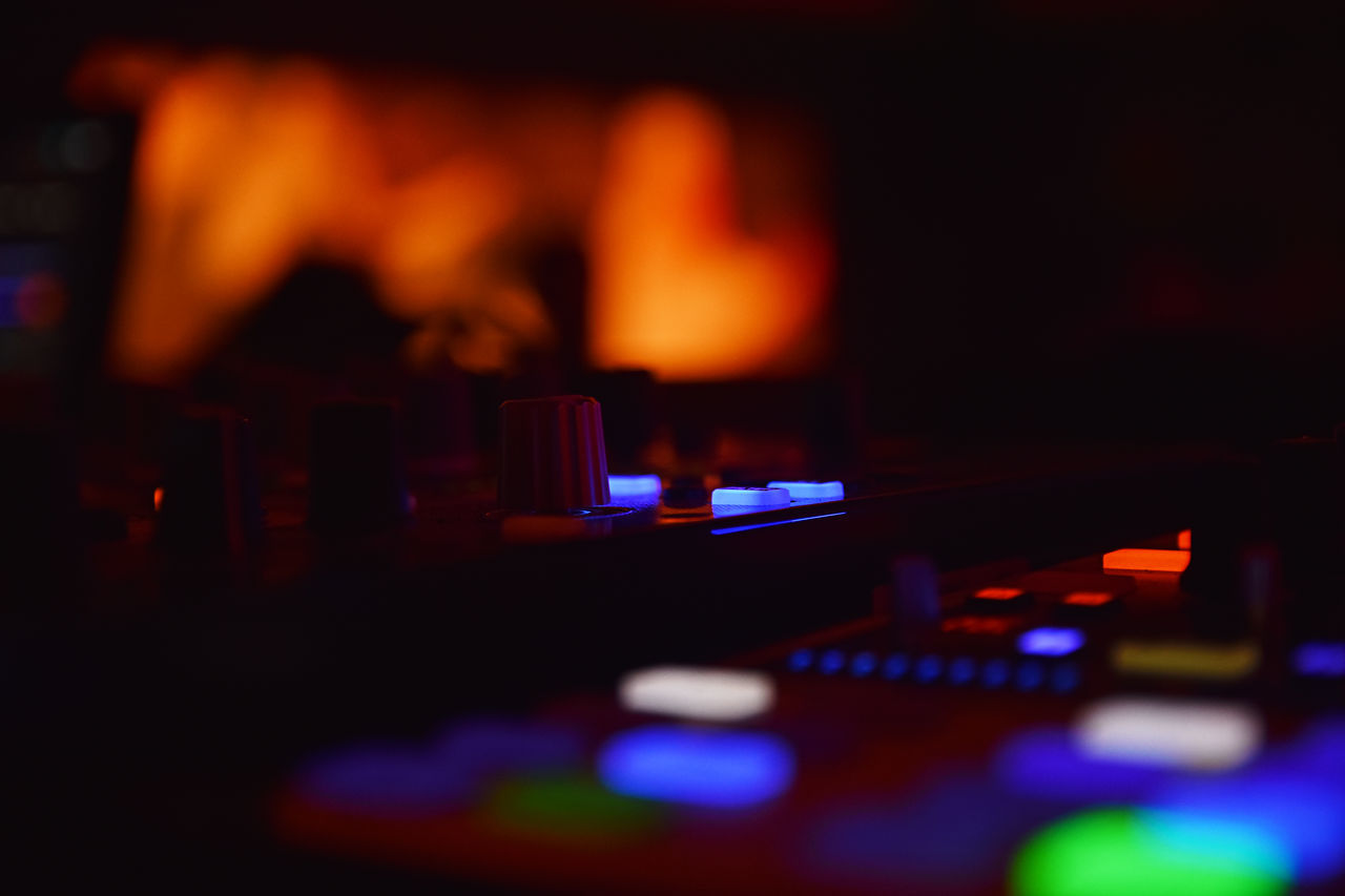 Arts Culture And Entertainment Close-up Colorfull Colors Control Indoors  Mixing Music Night No People Sound Mixer Sound Recording Equipment Technology