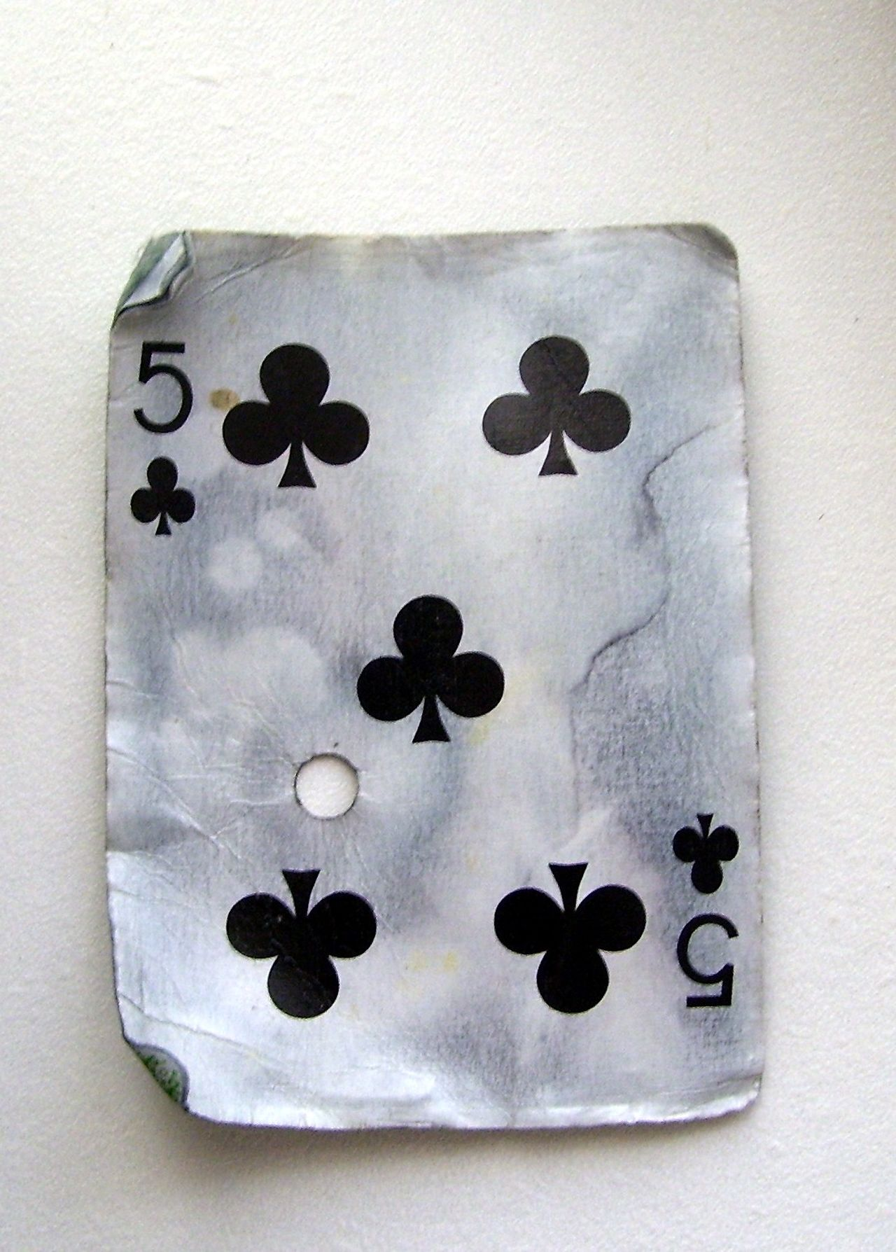 Casino Discard Playing Card Black Suit Card Game Cards Discarded Five Of Clubs Found Object Game Of Chance Playing Card Worn