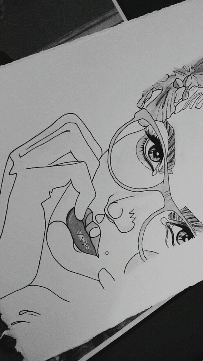 Mydraw Drawing Draw Watercolor Girl Glasses Eyes Lips Picture Beautiful Hair Fashion Artist Colors Blackandwhite