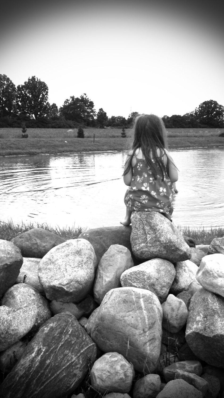 Childhood thoughts Children Childhood Pond Rocks Landscape Deep Thoughts Stronglittlegirl Enjoylifediana Phoyography