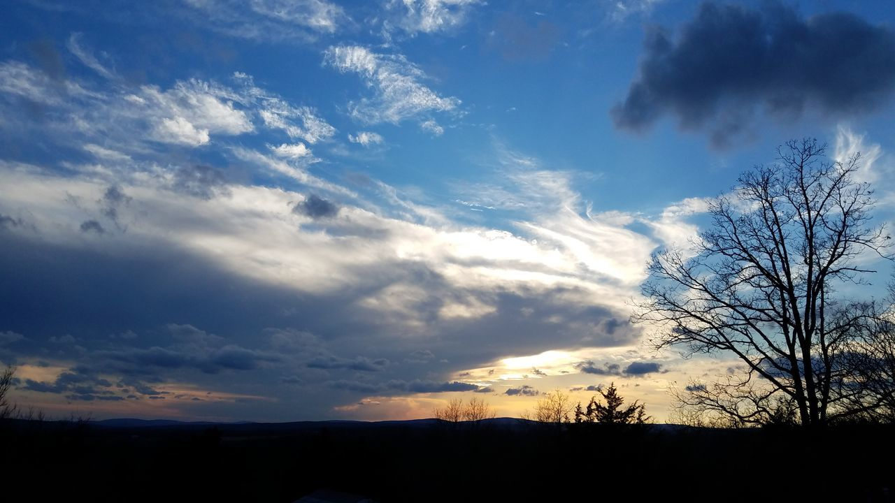 sky, beauty in nature, scenics, tranquil scene, cloud - sky, nature, silhouette, tranquility, majestic, landscape, sunset, no people, outdoors, tree, bare tree, day